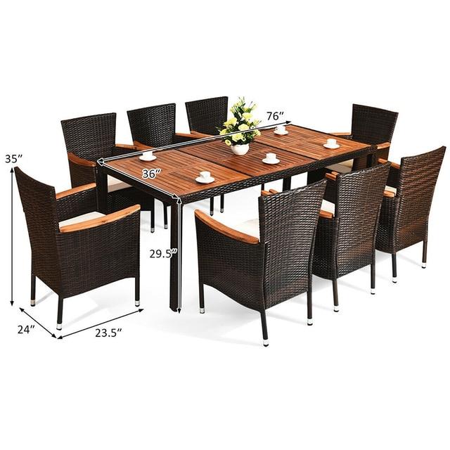 9 Pcs Patio Dining Table Set 6