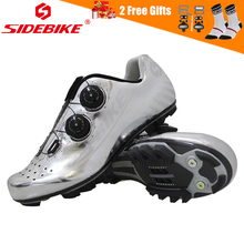 SIDEBIKE Ultralight Carbon Fiber Mens Bike Shoes Breathable Triathlon Cycling Mountain Bicycle MTB with Spin Buckle