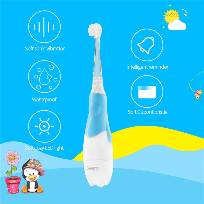 Electric Toothbrush Sonic Timer Washable Teeth Brush Soft Bristle Baby Safety Teether Cute Teeth Training Tool with LED Light image