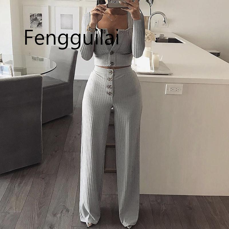Autumn Women Knitted Rib Sexy 2 Piece Set Women 2020 Winter Casual Gray Matching Sets Outfit 2 Piece Set Elegant Straight Pants