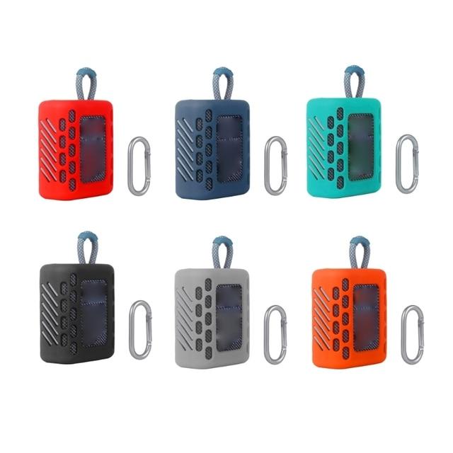 Coque peau de protection en Silicone coloré anti poussière avec mousqueton pour haut parleur Bluetooth JBL GO 3 Go3