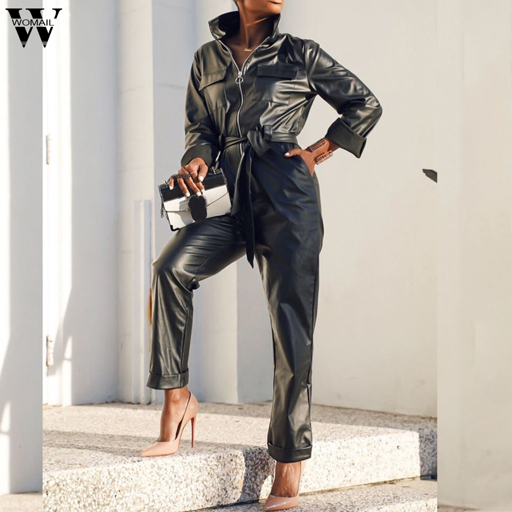 Womail Women Jumpsuit PU Leather Sexy Turn-Down Collar Zipper Bodycon Jumpsuits Romper Black Belt Overall Street Cool Club Party
