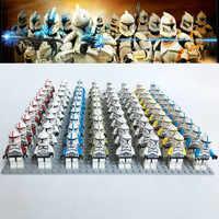21 pçs/lote blocos de construção tijolos brinquedos star wars mini clone trooper comandante capitão rex tempestade compatível com legoingly figura