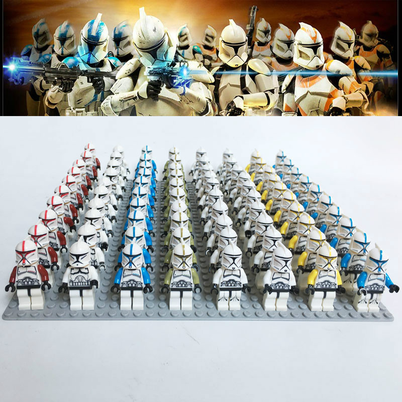 21PCS/LOT Building Blocks Brick Toys STAR WARS Mini Clone Trooper Commander Captain Rex Storm Compatible With Legoingly  Figure