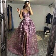 Ruhigen Hill 2020 Rosa Ärmellose Handgemachte Blumen Abendkleid Kristall Sexy Luxus Tüll Formale Party Kleid Real Foto CLA60717