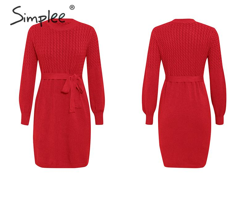 Simplee High waist sweater dress Elegant soft belt a-line women knitted dress Office lady solid bodycon chic party autumn dress