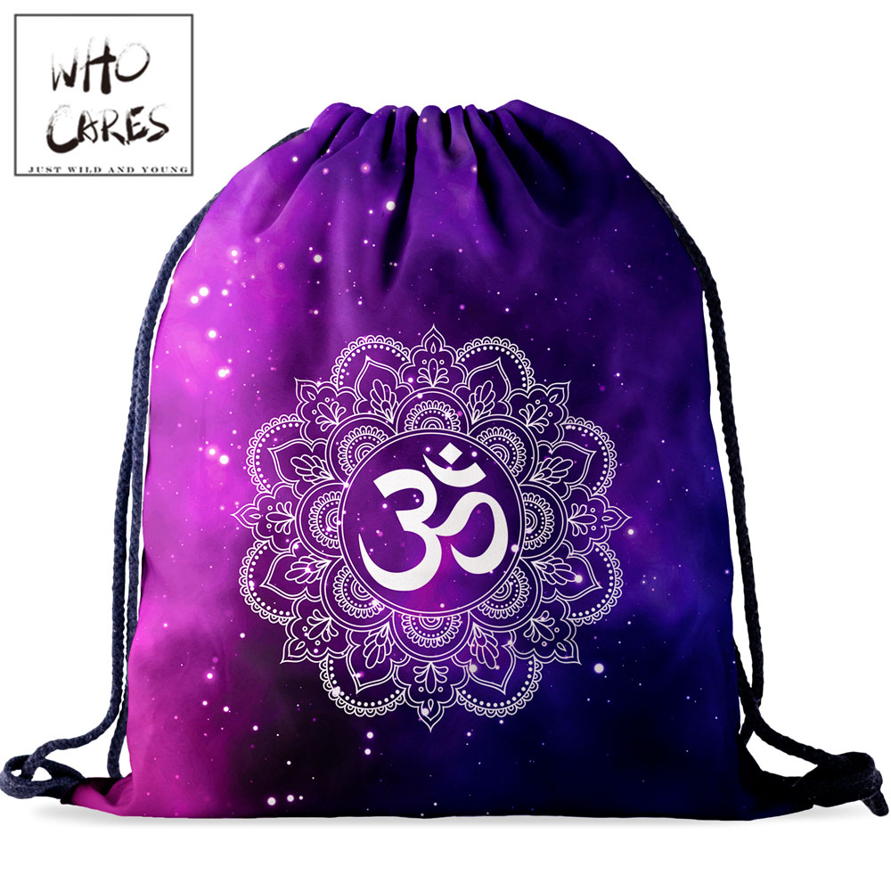 Who Cares Women Drawstring Bag Purple Backpack Waterproof Travel Natural Starry Sky 3D Printing For Girl String Bags Fashion