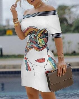 Summer Women Elegant Slim Fit Print Bodycon Party Casual Dress Off Shoulder Bird Pattern Striped Tape Splicing Mini Dress off shoulder stripe pattern dress with waist belt