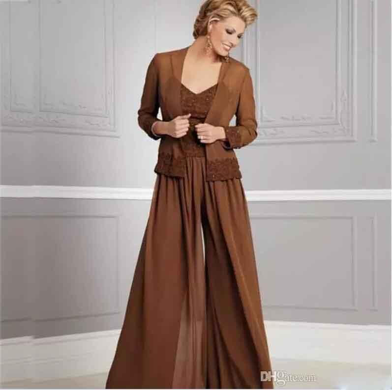 Vintage Chiffon Pants Suits For Brides V Neck Spaghetti Party Evening Prom Gown 2018 Mother Of The Bride Dresses With Jacket