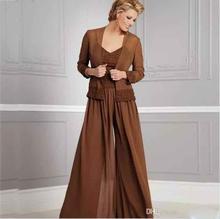 Старинные шифон брюки костюмы для невесты V шеи вечеринки спагетти вечернее платье мать 2018 невесты Платья с курткой