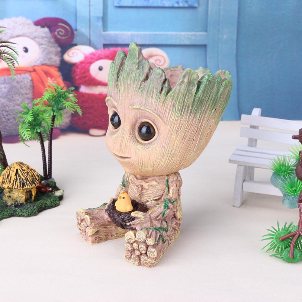 Baby Groot Flower Pot Flowerpot Planter Action Figures Toy Tree Man Cute PVC Model Toy Pen Pots Gift For Home Office