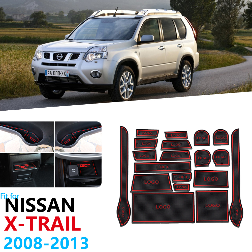 Anti-Slip Rubber Gate Slot Cup Mat For Nissan X-Trail T31 2008 2009 2010 2011 2012 2013 Door Groove Mat X Trail XTrail XTrailT31