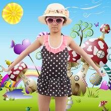 цена на SWIMMART 6-10T Kids Swimwear Dot Print mini Flounce Cute Girl Beachwear Children Swimming Bath Suits Toddler Teenage Swimsuit
