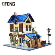 Wange Architecture series the Rural villa Building Blocks set Classic house Bricks Toys for Children Gifts 34052 house building bricks legocean city streetview villa garden building blocks sets doll model house gifts kids children toys