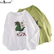 2019 Autumn New Harajuku Cotton Soft Long-sleeved T-shirt Woman Fashion Cartoon Print Loose Avocado Green T Shirt Women Tshirt