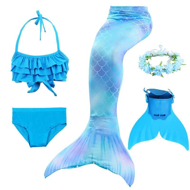 Los niños colas de sirena con Fin traje princesa Ariel la cola de sirena pequeña Cosplay niños para niñas, traje de baño trajes