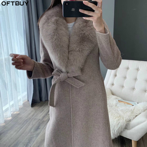 Image 1 - OFTBUY 2020 kış ceket kadınlar gerçek kürk ceket doğal Fox kürk yaka kaşmir yün karışımları uzun giyim kemer bayanlar Streetwear