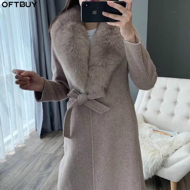OFTBUY 2020 kış ceket kadınlar gerçek kürk ceket doğal Fox kürk yaka kaşmir yün karışımları uzun giyim kemer bayanlar Streetwear
