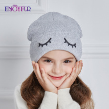 ENJOYFUR Children Spring Hats Cute Eye Knitted Boys Hat Girl