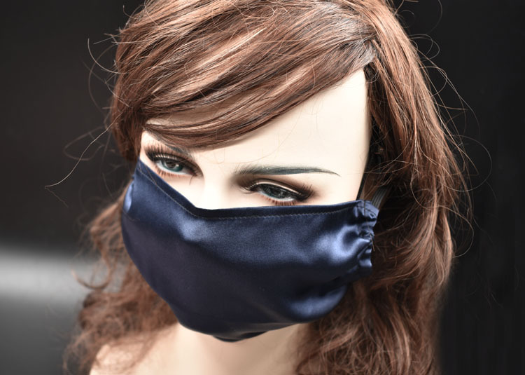New Satin Pure Silk Thin Smooth Silk Riding Driving A Single Pure Silk Mask Solid Color Printing Mouth Mask