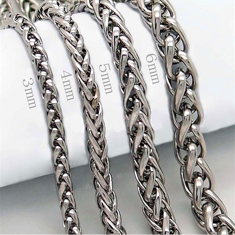 HNSP 316L Stainless steel chain necklace for men 3MM/4MM/5MM/6MM width Male Jewelry Necklace(China)