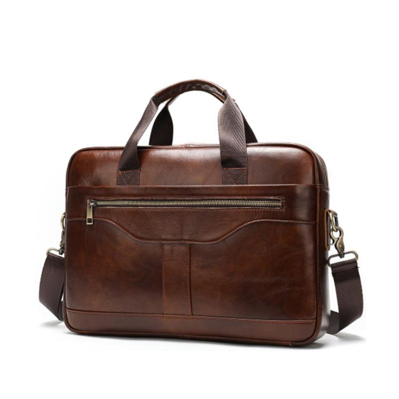 Luufan Genuine Leather Business Briefcase For Man Formal Leahter 15.6 inch Laptop Bag Male Shoulder Crossbody Bag Book Bag