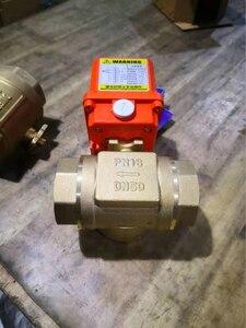 "Image 3 - AC220V DN50 2 ""אינץ 3 דרך/T סוג 3 חוטים 2 בקרת פליז חשמלי מפעיל ממונע כדור שסתום באיכות גבוהה"