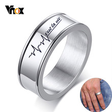 Vnox 7mm Personalize Name Words Groove Ring for Men Silver Glossy Stainless Steel Wedding Band Classic Simple Male Alliance(China)