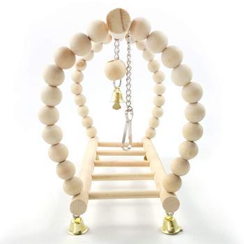 Bird Parrot Wood Hanging Bridge with Beads Bells Suspension  Swing Ladder Climbing Frame Toy Cage Balance Training 4