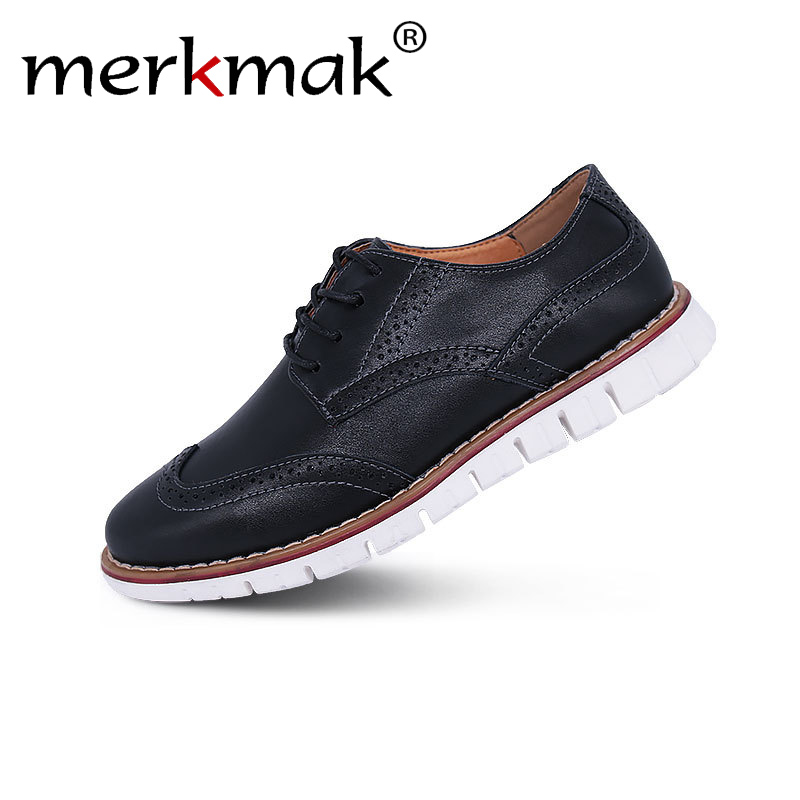 Merkmak Brand Brogue Brown Red Black Men Business Dress Shoes Pointed Toe Men Wedding Shoes Leather Formal Shoes Casual Flats