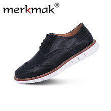 merkmak Brand Brogue Brown Red Black Men Business Dress Shoes Pointed Toe Men Wedding Shoes Leather Formal Shoes casual flats men shoes quality leather dress round toe shoe men brand brogue black business wedding casual shoes