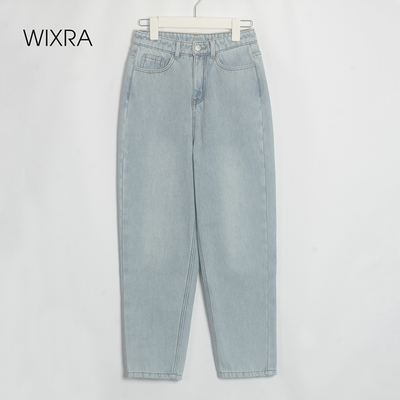 Wixra Stylish Jeans Pants Female High Waist Jeans With Fur BF Casual Button Denim Pants Womens Streetwear Autumn Winter