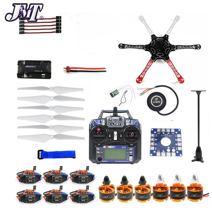 Jmt seis-eixo hexacopter unmounted kit zangão gps com flysky FS-i6 6ch 2.4g tx & rx apm 2.8 multicopter controlador de vôo