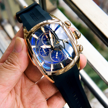 Reef Tiger/RT Big Sport Watches with Date Rubber Strap Steel Blue Dial