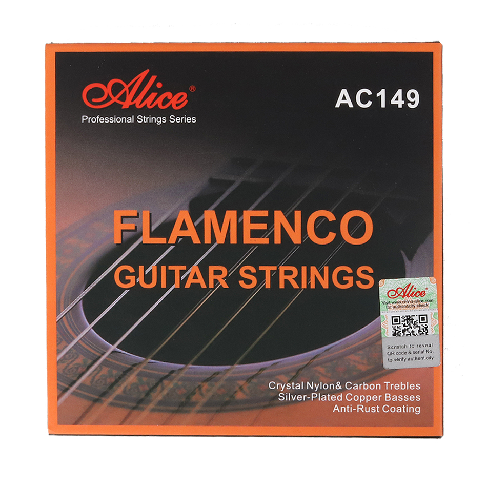 Alice ac149 flamenco guitarra cordas de cristal náilon & carbon, sliver chapeado cobre enrolamento, anto-revestimento de ferrugem