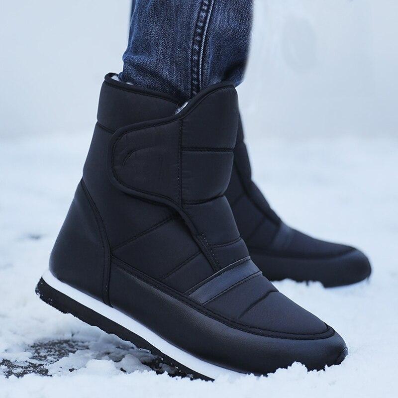 Men Boots 2019 Warm Plush Winter Shoes Fashion Waterproof Ankle Boots Non-slip Men Winter Snow Boots Size 38 - 45
