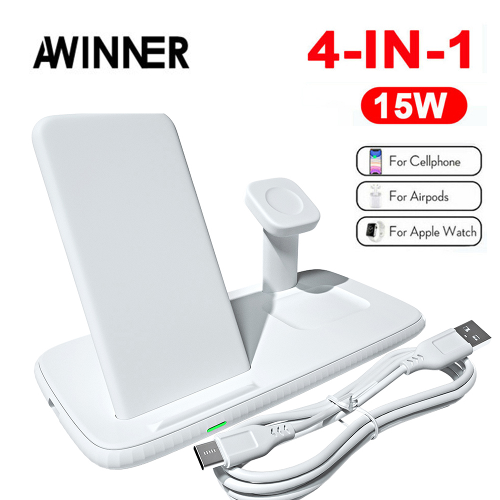 QI 15W Fast Charge 4 In 1 Wireless Charger For Iphone 12 Pro Charger Dock For Apple Watch 6 5 Airpods Pro Wireless Charge Stand