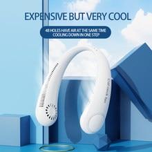 Mini Bladeless Fan Neck Fan 4000mAh USB Rechargeable Fan Mute Sports Fans for Home Outdoor