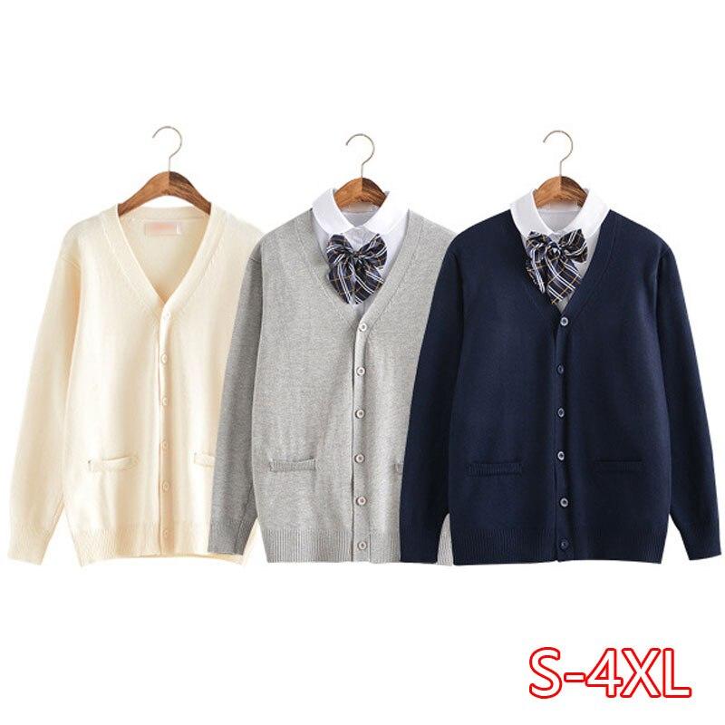 Spring Autumn Japanese School Uniform Cardigans Solid Color School Girls Knitwear V-neck Sweater