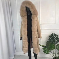 real natural fox fur coat jacket parka with fox fur big large fox fur collar rabbit fur liner thick warm new waterproof