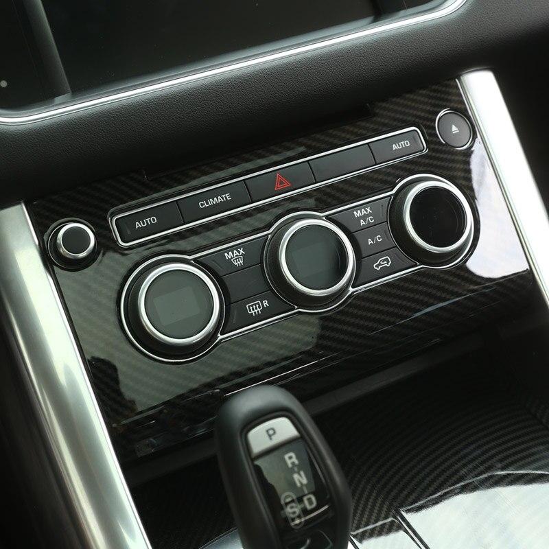 Carbon Fiber Style ABS Plastic Car Center Console AC Panel Frame Cover Trim For Land Rover Range Rover Sport RR Sport 2014-2017