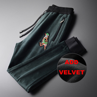 Add Velvet Luxury Autumn And Winter Embroidery Thickening Skinny Pants Men Plus Size 4xl Sport Men's Trousers