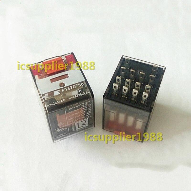 2PCS/LOT PT570730 230VAC 4CO 6A 14Pin DIP14 Relay New And Original