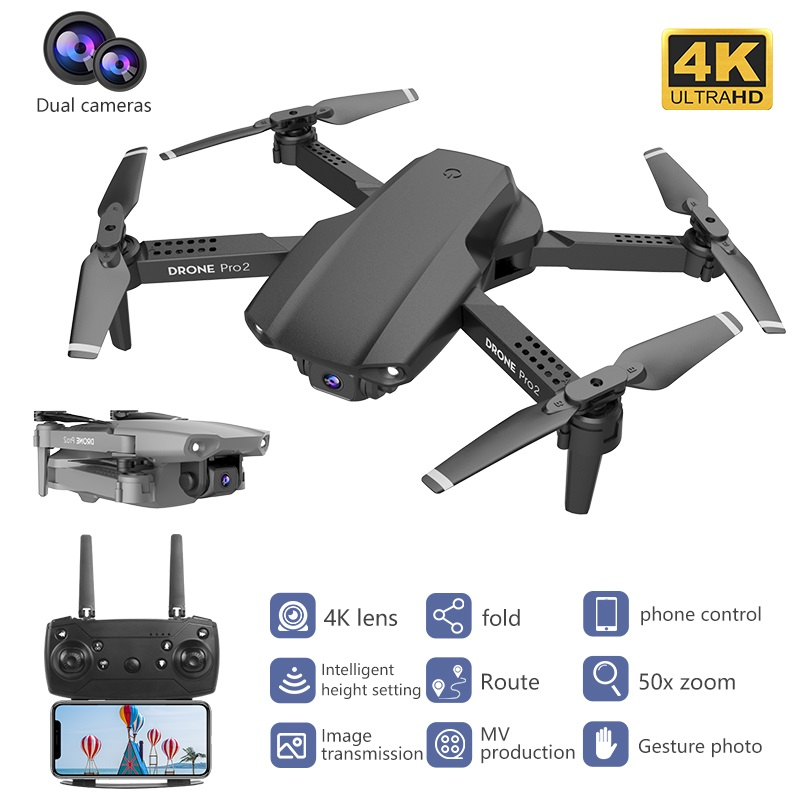 Best E99 Pro Drone 4K Optical Flow Quadrocopter With Dual Cameras Foldable RC Dron Smart Follow Me Super Wide Angle Camera