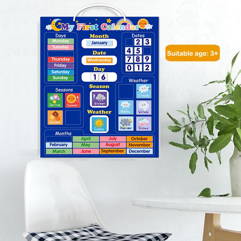 Детский магнитный календарь, дата месяца, сезон, погода, детская доска, Ранняя развивающая игрушка для мальчиков и девочек, домашняя школа
