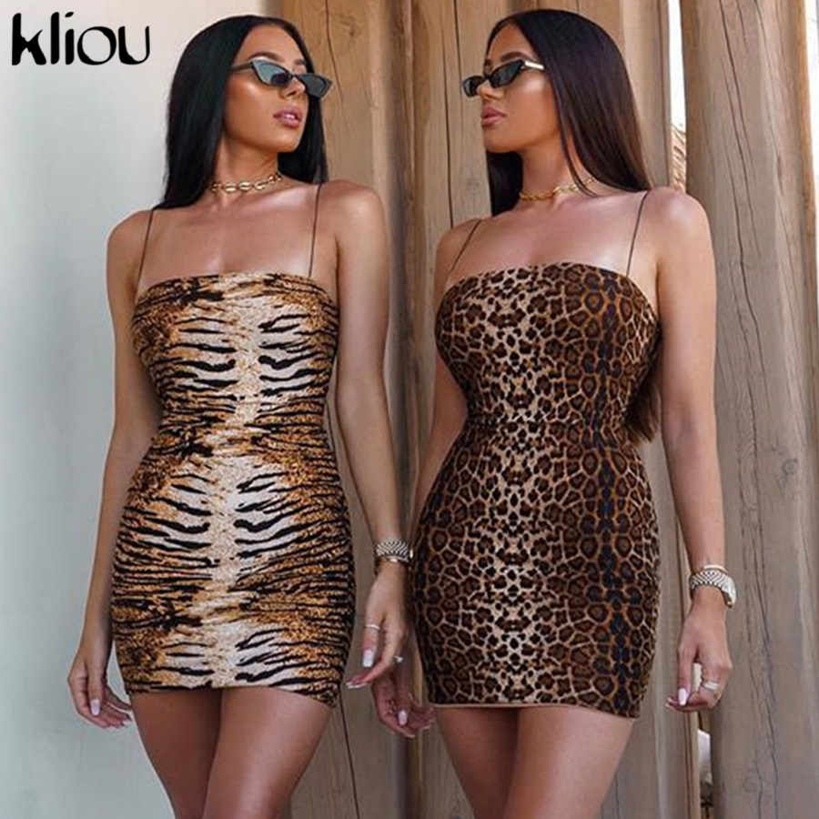 Kliou Leopard Print Spaghetti Strap Sexy Kleid Frauen Herbst Sleeveless liebsten mantel Mini Bodycon Kleid Backless Casual Kleid