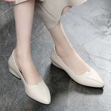 New soft leather shoes for women, pointed thick heel shoes for women
