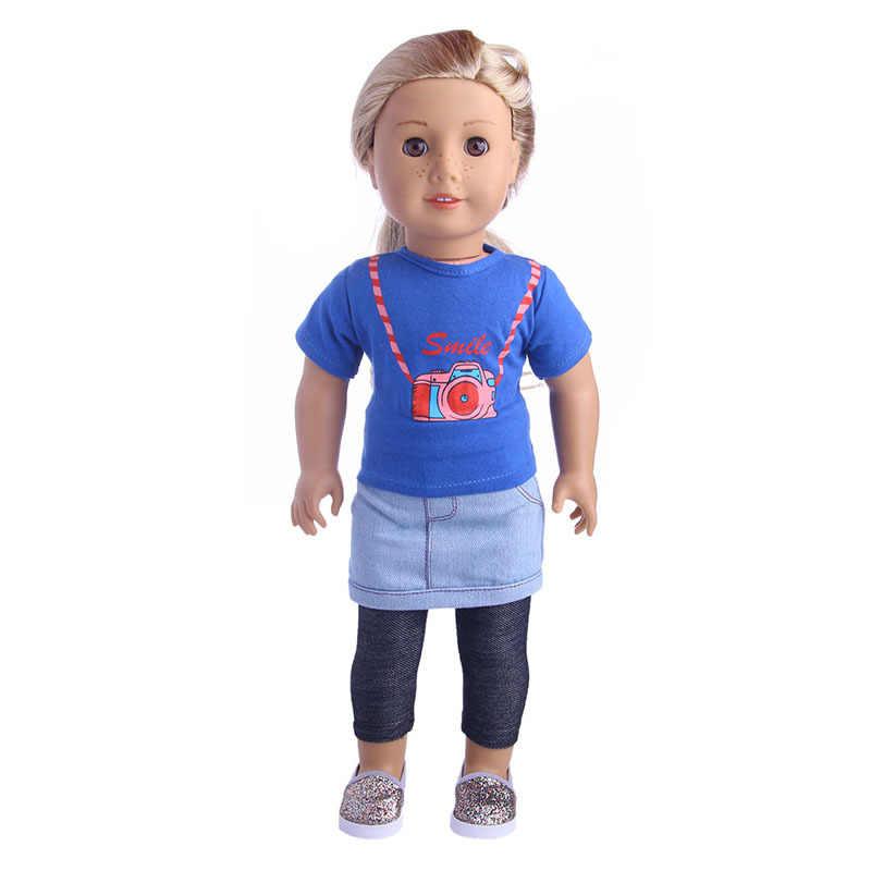3 枚のtシャツ + デニムスカート + パンツ人形ドレスアップaccessoricesかわいい洋服人形 17-18 インチと 43 センチメートル人形