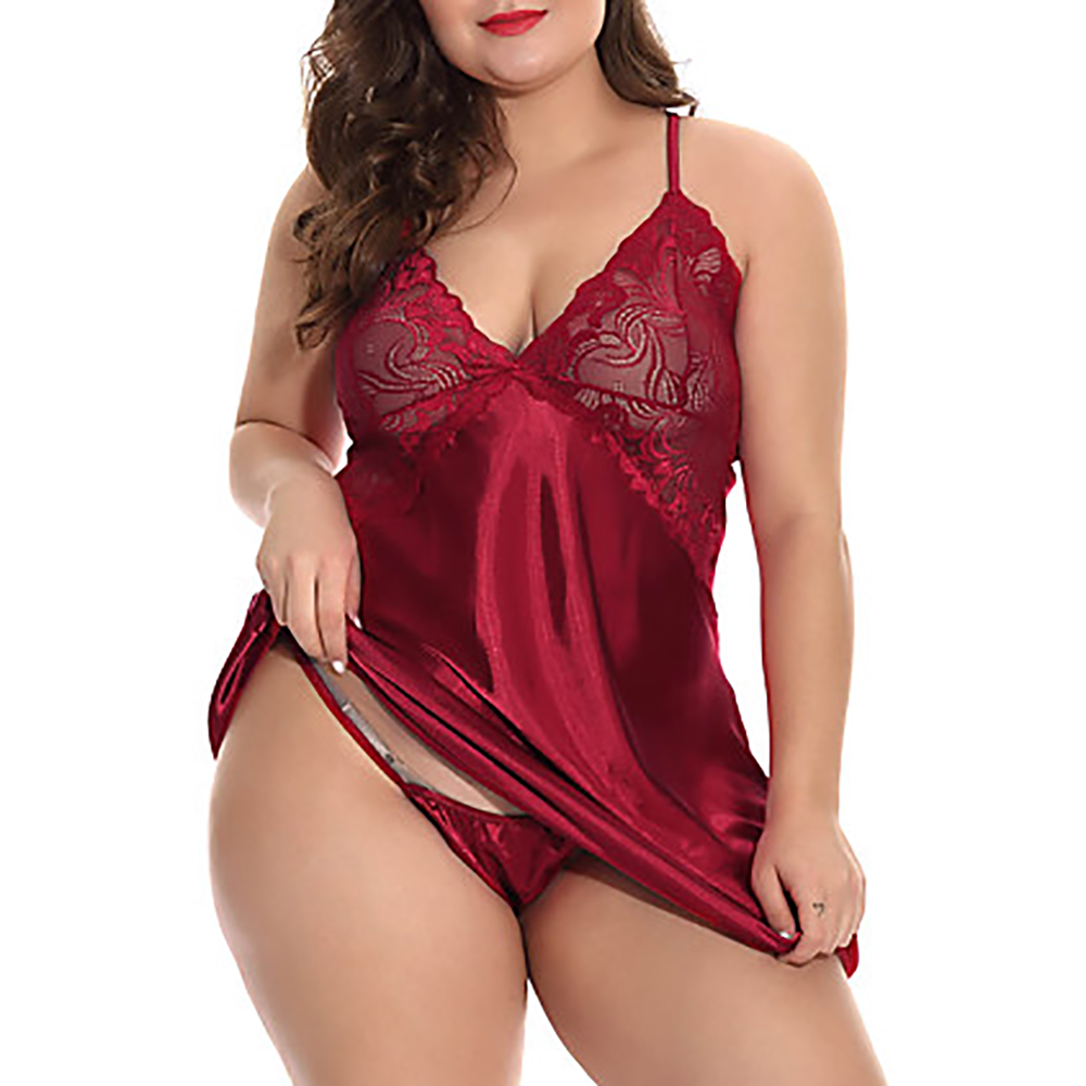 5XL Sexy Women Sleep Dress With G-String Female Deep V Lingerie Set Plus Size Erotic Costumes Hollow Out Underwear Babydoll 35 1