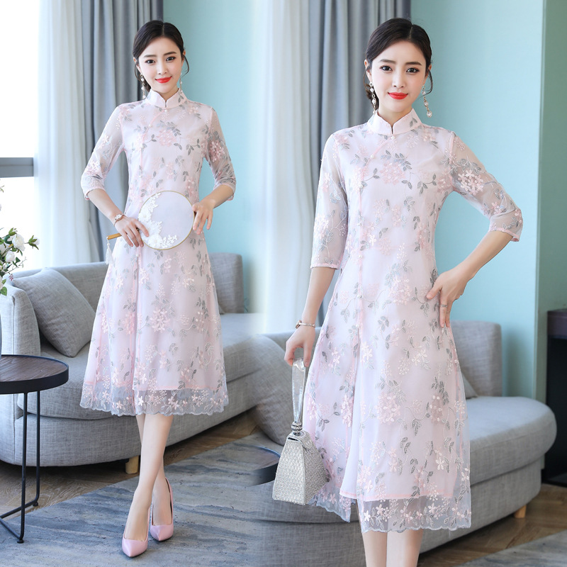 Improved Cheongsam Dress Women's 2019 Spring And Summer Chinese-style Retro Embroidered Tea Art Clothes Medium-length A- Line Sk